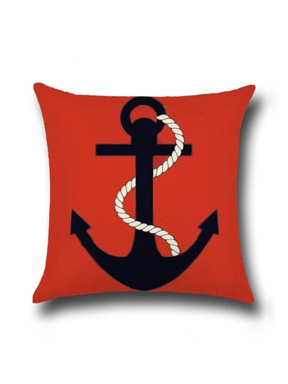 Red Anchor Print Linen Cushion Cover