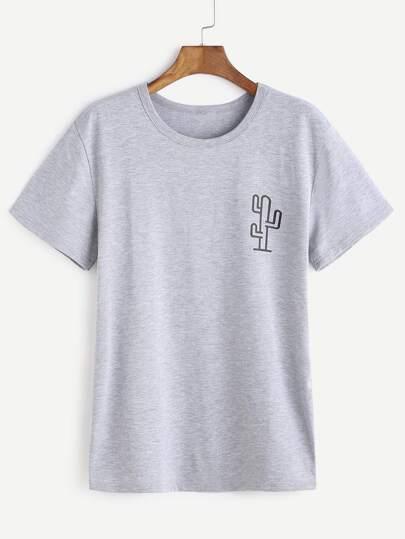 Camiseta con estampado de cactaceae - gris