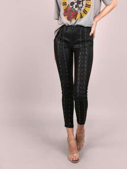 Coated Skinny Lace Up Pants BLACK