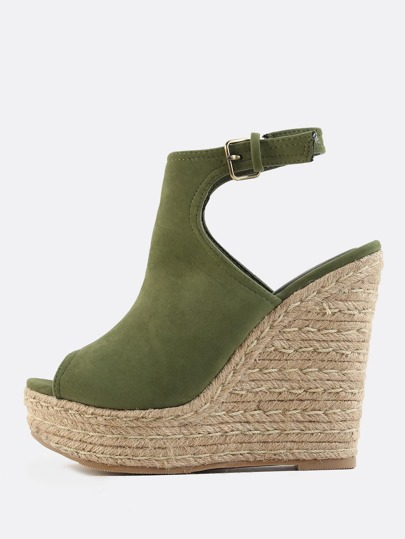 Peep Toe Faux Suede Wedges OLIVE