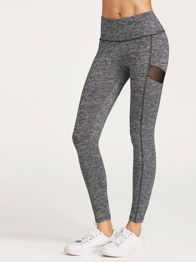 Leggings Panel Netz - grau