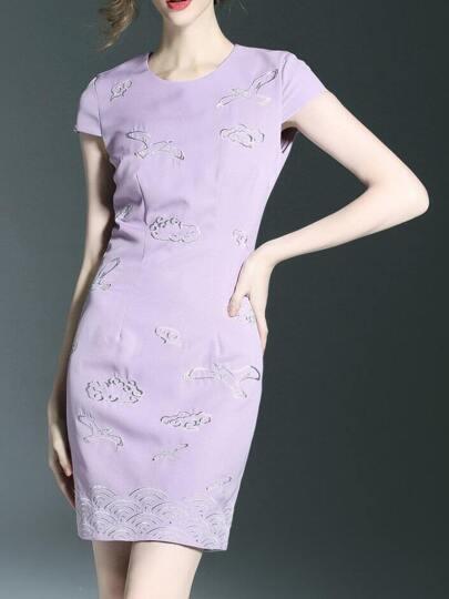 Purple Cap Sleeve Embroidered Sheath Dress