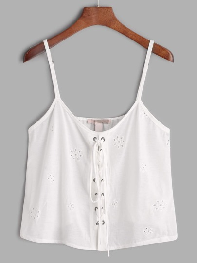 White Embroidered Hollow Out Lace Up Crop Cami Top