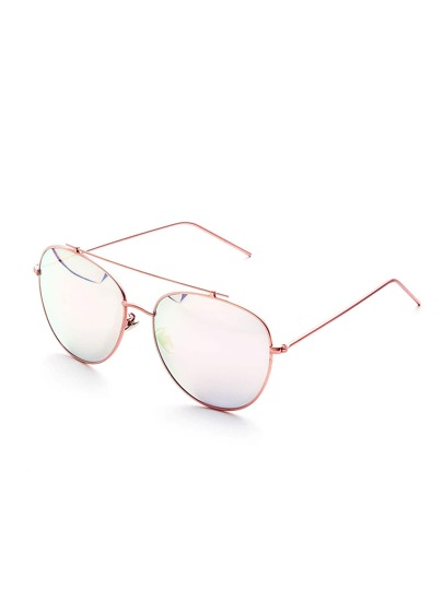 Pink Mirror Lens Double Bridge Sunglasses