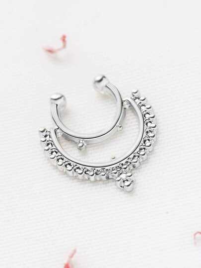 Серебристое модное кольцо для носа