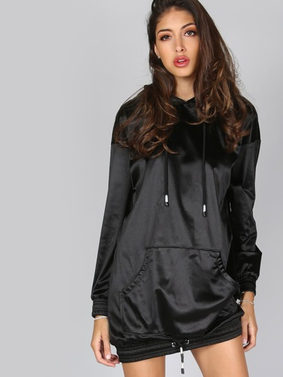 Black Pocket Front Drawstring Hem Silky Hoodie Dress