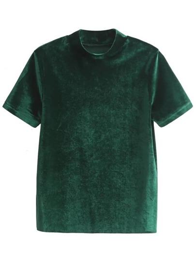 Dark Green Mock Neck Velvet T-shirt