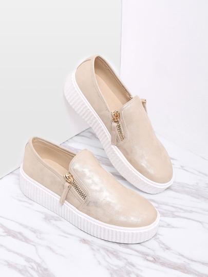 Zapatos planos de suela de goma con cremallera lateral-dorado
