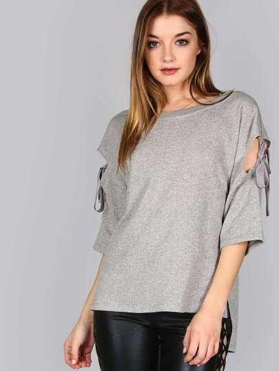 Round Neck Tie Shoulder Sweater GREY