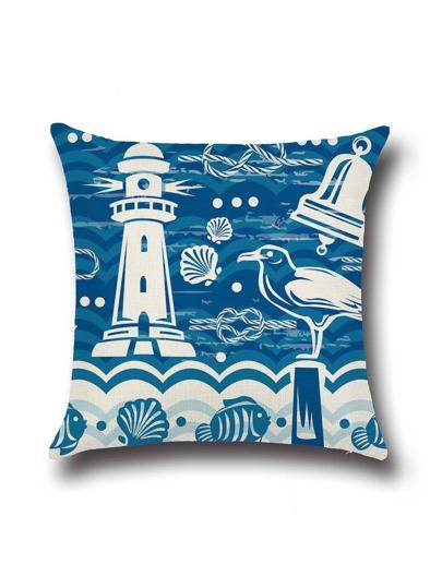 blauer leuchtturm print - kissen decken