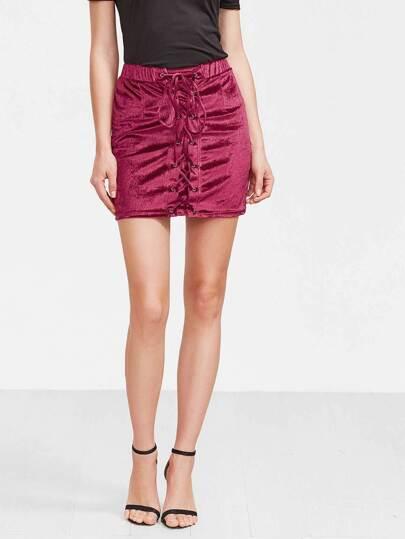 Burgundy Velvet Lace Up Skirt
