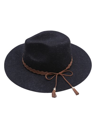 Black Wide Brim Hat With Contrast Trim