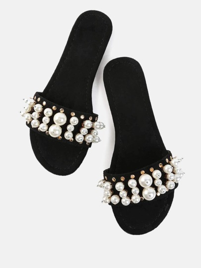Open Toe Faux Pearl Slide Sandals BLACK
