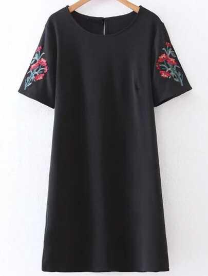 Black Flower Embroidery Keyhole Back Dress