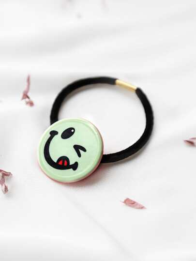 Green Smiley Face Hair Tie