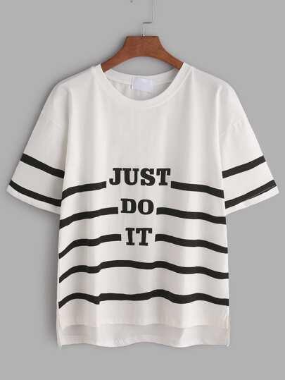 Weißer Slogan Print Slit Side High Niedriges T-Shirt