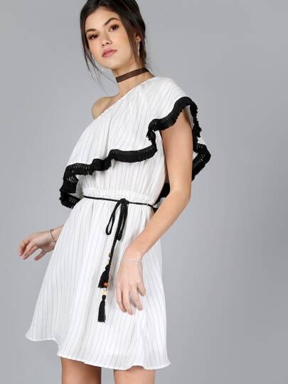 One Shoulder Striped Dress BLACK MULTI