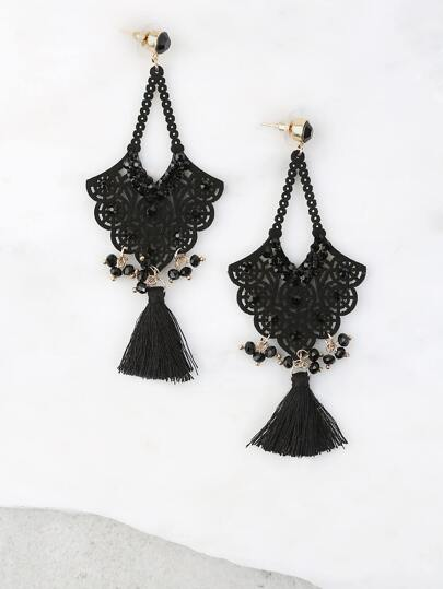 Bejeweled Crochet Drop Earrings BLACK