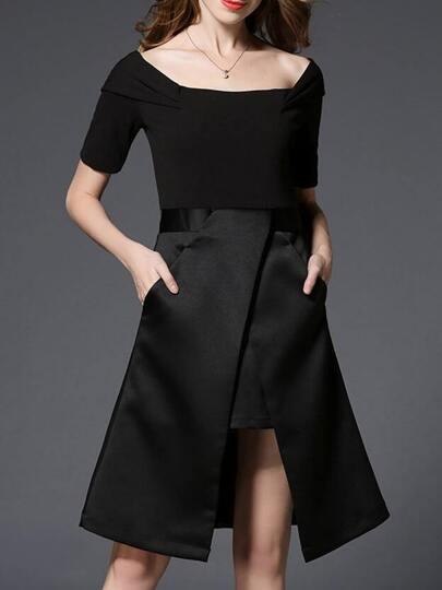 Black Boat Neck Pockets Asymmetric Dress