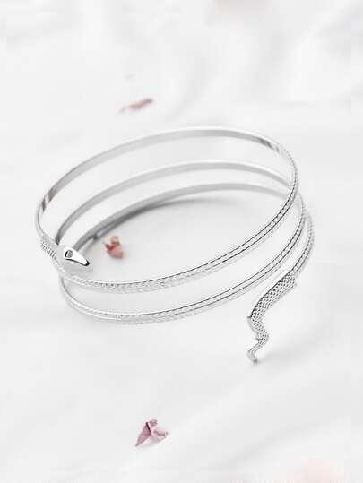 Bracciale in argento della bobina del serpente