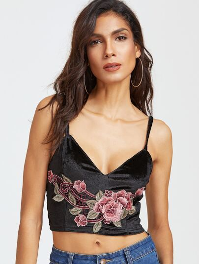 Black Embroidered Flower Applique Crop Velvet Cami Top