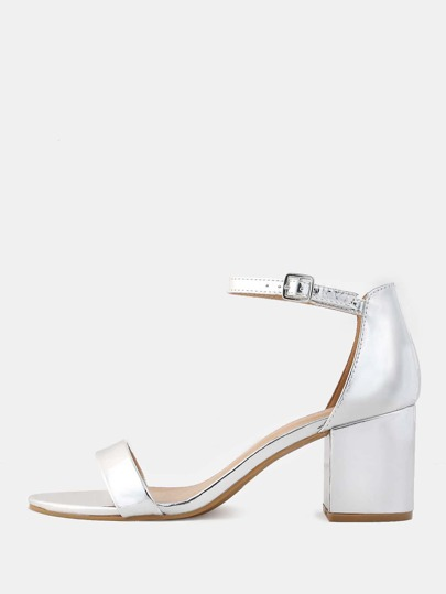 Metallic Block Heels SILVER
