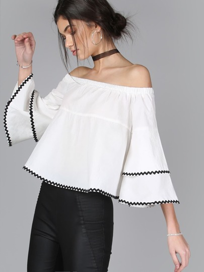 Off Shoulder Ruffle Sleeve Top WHITE