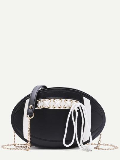 Bolso en forma de balón con cordones y cadena - negro