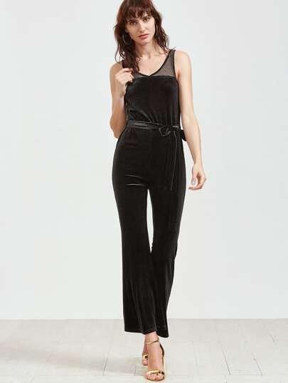 Black Dot Mesh Shoulder Belted Velvet Jumpsuit