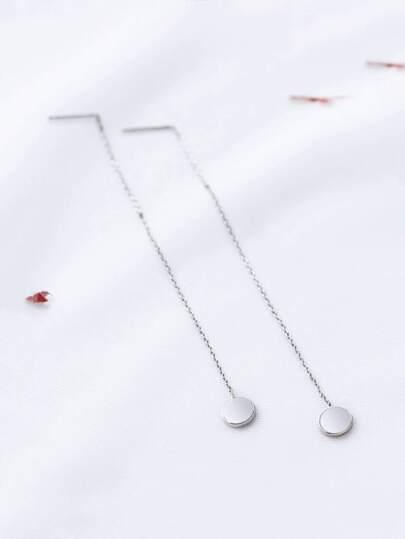 Silver Chain Strand Drop Earrings