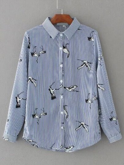 Blue Vertical Striped Cranes Embroidery Blouse