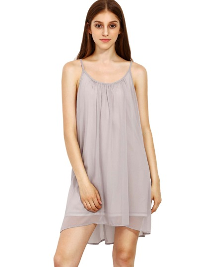Spaghetti Strap Hollow Shift Neon Grey Braces Sun Slip Dresses