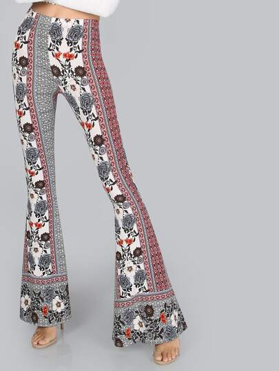Mid Rise Flare Bell Bottom Pants FLORAL MULTI