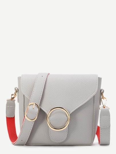 Grey Ring Detail PU Shoulder Bag