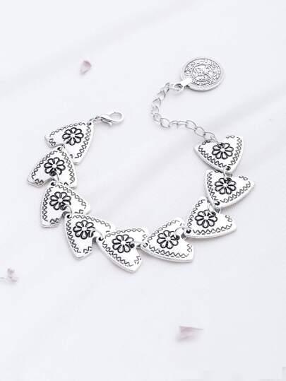 Argento Motivo floreale braccialetto di disegno Triangle