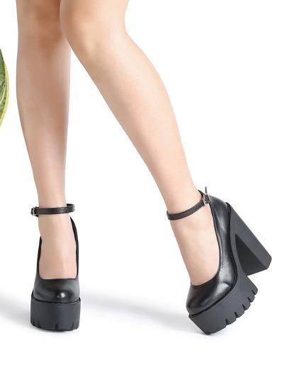 Black Ankle Strap Platform PU Heels
