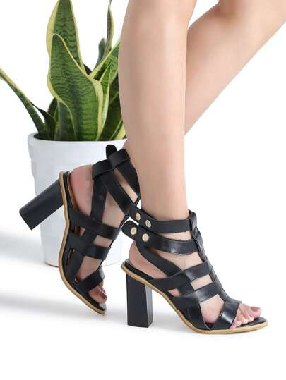 Black Chunky Heeled Gladiator Sandals