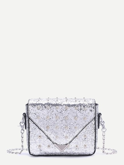 Silver Studded Design Sequin Chain Bag