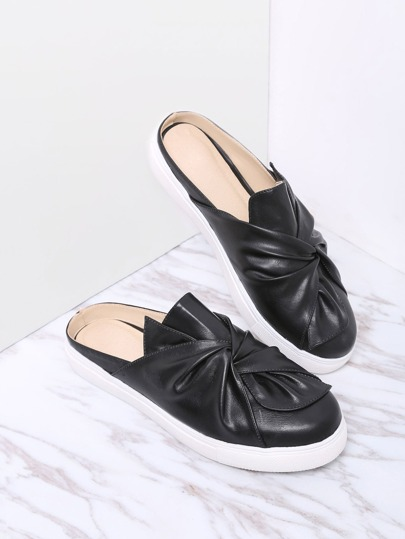 Black Faux Leather Round Toe Slippers