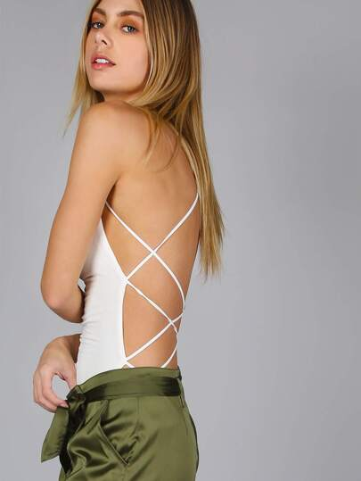 Criss Cross Strappy Bodysuit WHITE