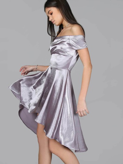 Satin Bardot Hi-Low Dress LAVENDER