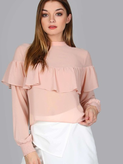 Belted Long Sleeve Chiffon Blouse PEACH