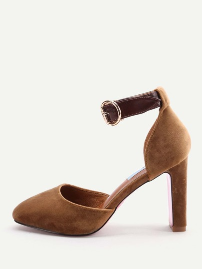 Camel Ankle Strap Stiletto Heels