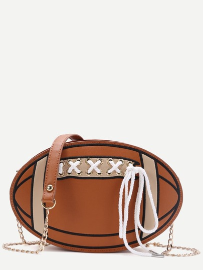 Brown Ball Shape Lace Up Chain Bag