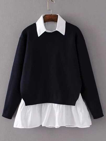 Black Contrast Ruffle Hem Split Back Sweater