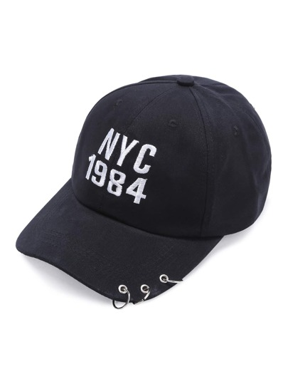 Black Letter Embroidery Ring Detail Baseball Cap
