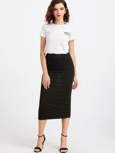 Чёрная вязаная миди юбка