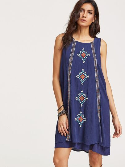 Navy Embroidered Layered Keyhole Back Tank Dress