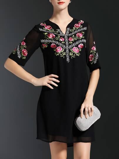 Black V Neck Flowers Embroidered Shift Dress