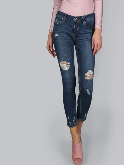 Destroyed Crop Jeans DENIM